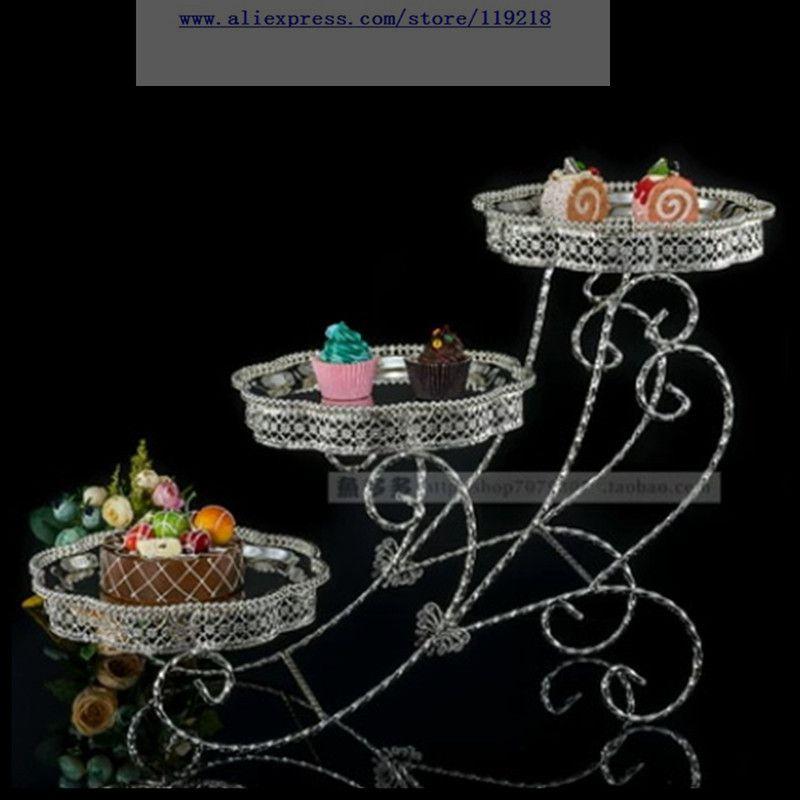 Lanche da Tarde de Suporte Multi-camada de Bolo Prato de Sobremesa de Casamento Metal Prateado Três-camada Flor Mesa Buffet 1 Pcs