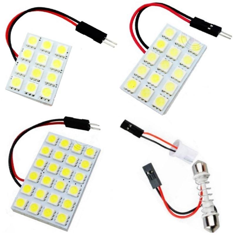 12 15 24 светодиодный панель супер белая автомобильная лампа для чтения карты 5050 smd авто купольная интерьерная лампа на крышу светильник с адаптером T10 Festoon Base