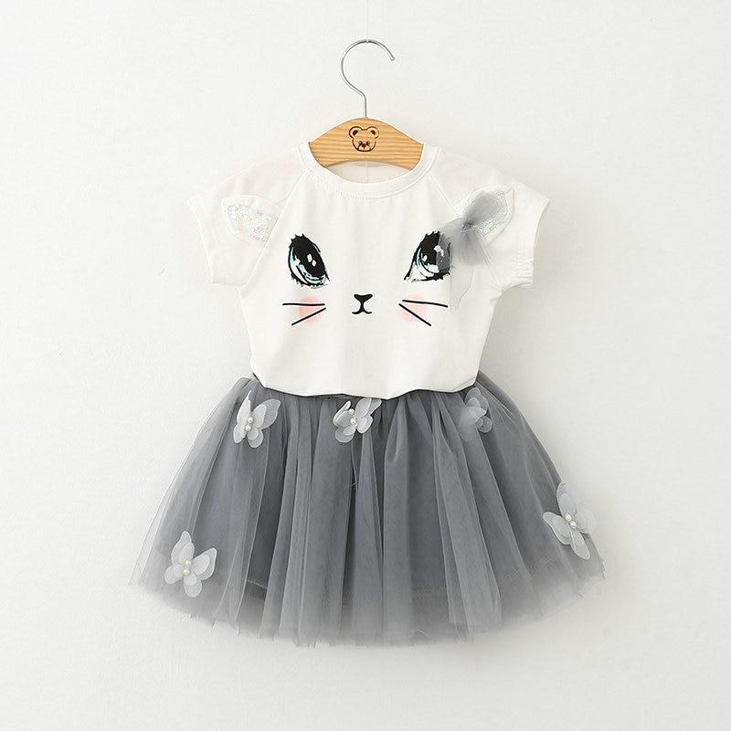 Oso lider chicas ropa 2016 marca ropa para ninas establece niños del gato de dibujos animados los niños nino nina Tops + falda