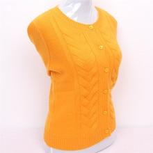 100% chèvre cachemire torsadé tricot femmes épais cardigan pull bas o-cou lumineux jaune 4 couleur S/90-5XL/125