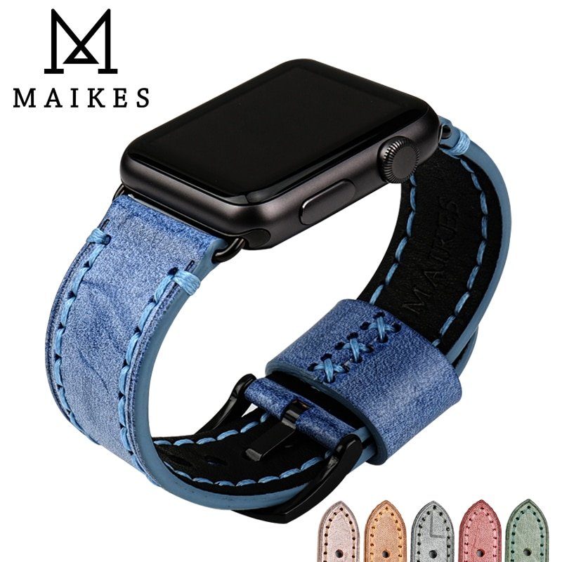 Ремешок MAIKES кожаный сменный для Apple Watch Band 44 мм 40 мм/42 мм 38 мм Series 4 3 2 1 iWatch