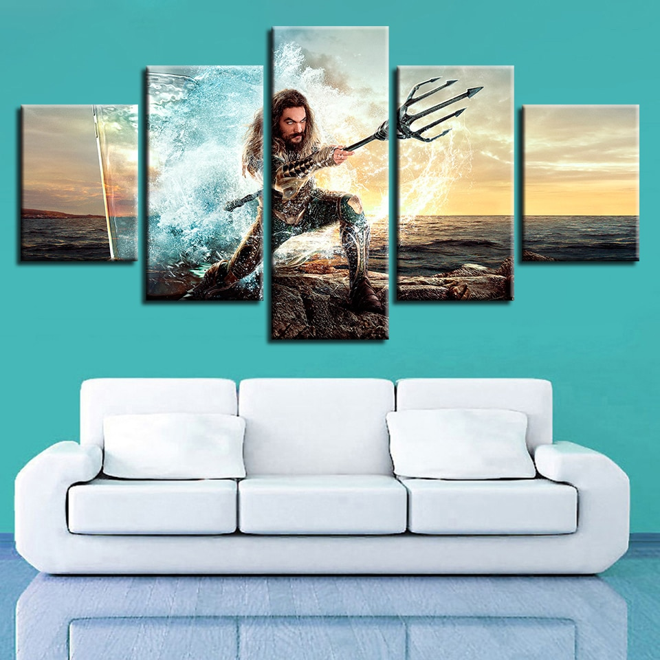 Dios de la guerra, Ascensión, Guerrero Poseidón, 5 paneles, arte de la pared, pinturas de la mitología griega, cuadros, decoración del hogar, impresiones de alta definición, carteles