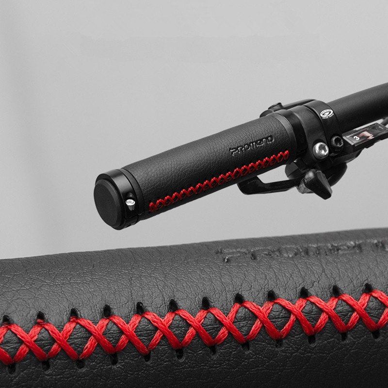 Empuñaduras de bicicleta de fibra de cuero PROMEND, empuñadura de aluminio doble bloqueo Anti manillar de deslizamiento