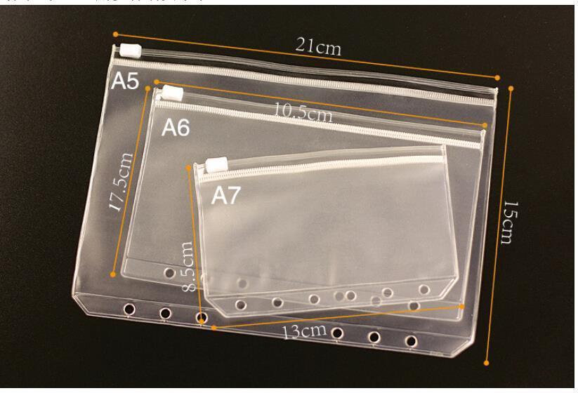 1pc transparente pvc titular do cartão de armazenamento a5 a6 a7 binder anéis notebook 6 buraco saco envelope inserção recarga organizador 3 tamanho