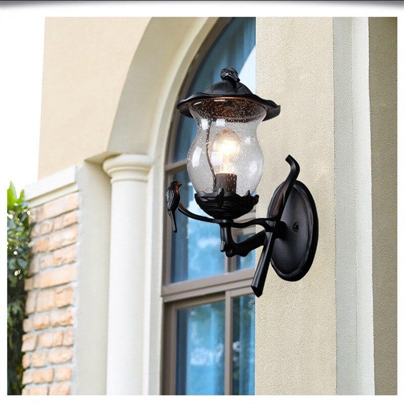 HAWBERRY American Simple Outdoor Wall Lamp Waterproof Garden European Vintage Balcony Light Wall Mount Creative Bird
