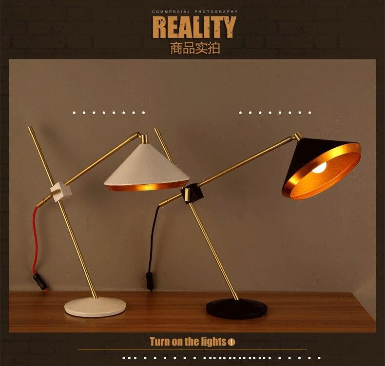 Lámpara de mesa giratoria de hierro forjado de diseño conciso para dormitorio, mesa de estudio, envío gratis