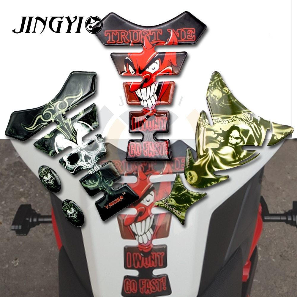 Adhesivo Protector para almohadilla de depósito 3D para motocicleta, pegatina de coche de carreras con calavera para SUZUKI gs500 vstrom drz 400 hayabusa gn125 m109r