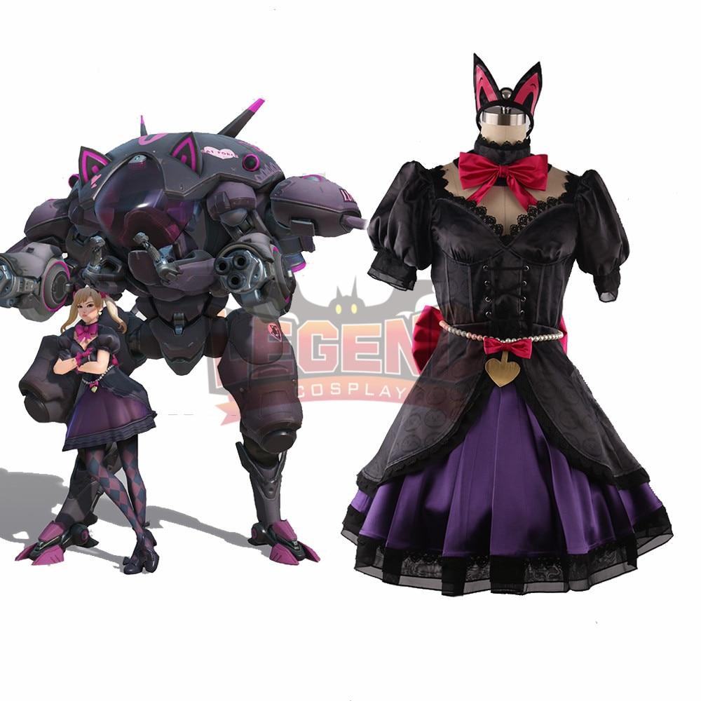 Disfraz dva 2018 nuevo gato negro de piel Dva lolita d. va cosplay traje falda conjunto completo traje adulto hecho a medida