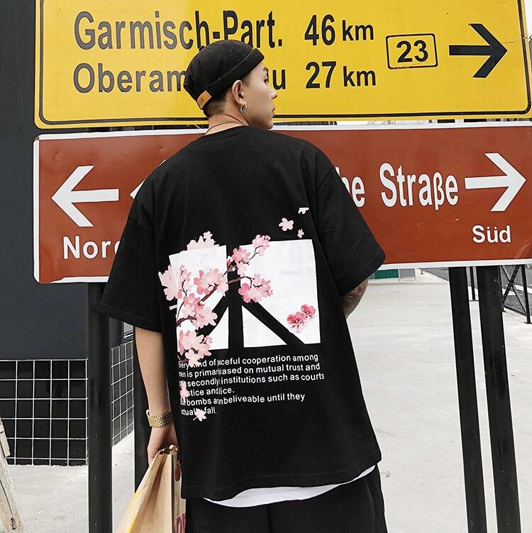 Hüfte Hüfte Streetwear Blume Frieden Baumwolle T Shirt Lose Paar Hip Hop Straße männer Frieden T-shirts