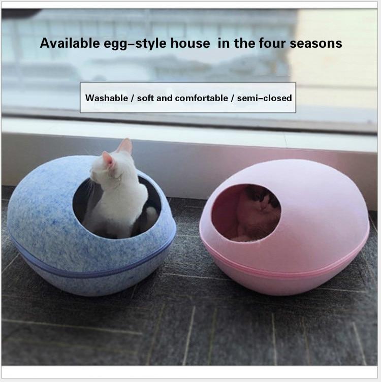 Nido de fieltro para mascotas, arena para gatos integrada, forma de huevo creativa, casa aislante para mascotas