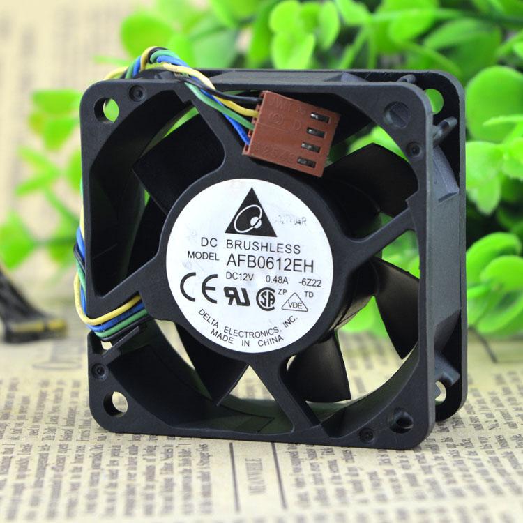 Original DELTA AFB0612EH 6CM 6CM 12V 0.48A 6025 4 Alambre de rodamiento de bolas de ventilador de refrigeración