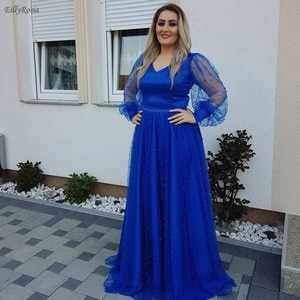 Royal Blue Evening Dresses Illusion Long Sleeve Pearls V Neck A Line Tulle Puffy Dinner Dress for Mother of the Bride lange jurk