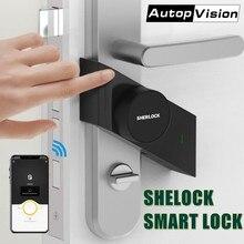 Sherlock S2-serrure à bâton intelligente   Serrure de porte électronique sans clé, Bluetooth, sans fil, ouverture et fermeture de porte, commande App intelligente (noir)
