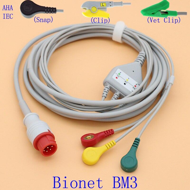 8P ECG electrocardiograma 3 cable y el electrodo de leadwire para Bionet BM3 con AHA/IEC/Clip/veterinario clip