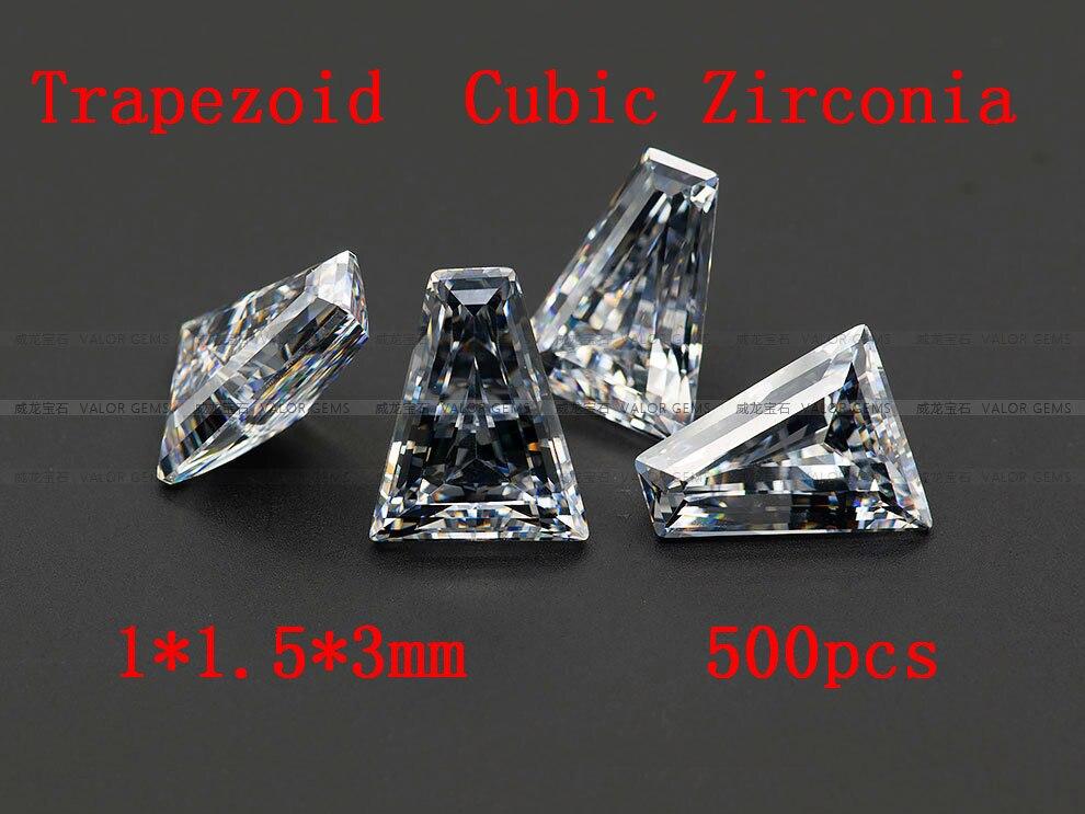 Suministros de joyería 500 uds/pcak AAA grado CZ Zirconia cúbica Trapeziod Zirconia 1*1,5*3MM DIY hallazgos de joyería suministros envío gratis