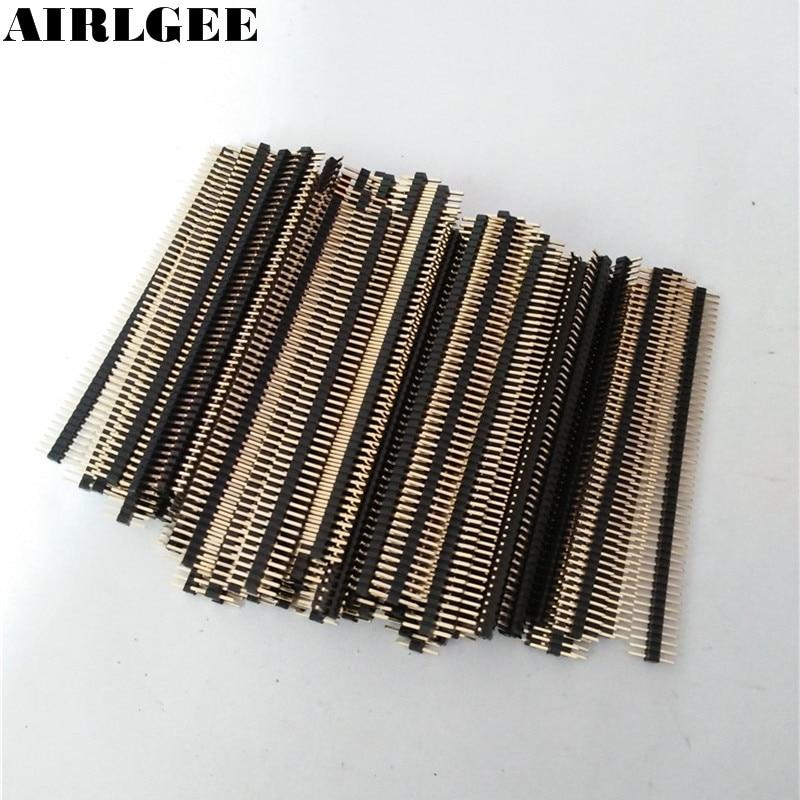 100pcs 50 Way Single Row Straight Pin Male Header Strip 1.27mm Pitch Free shipping