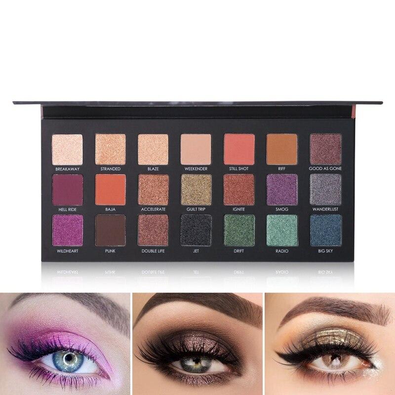 21 colores brillo mate de sombra de ojos paleta de maquillaje brillo de larga duración pigmento de belleza para ojo sombra Sombras cosmética