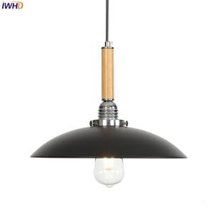 IWHD Black Nordic Pendant Lights LED Loft Iron Hanglamp Industrial Lamp Vintage Hanging Lamp Light Fixtures Luminaire Suspendu