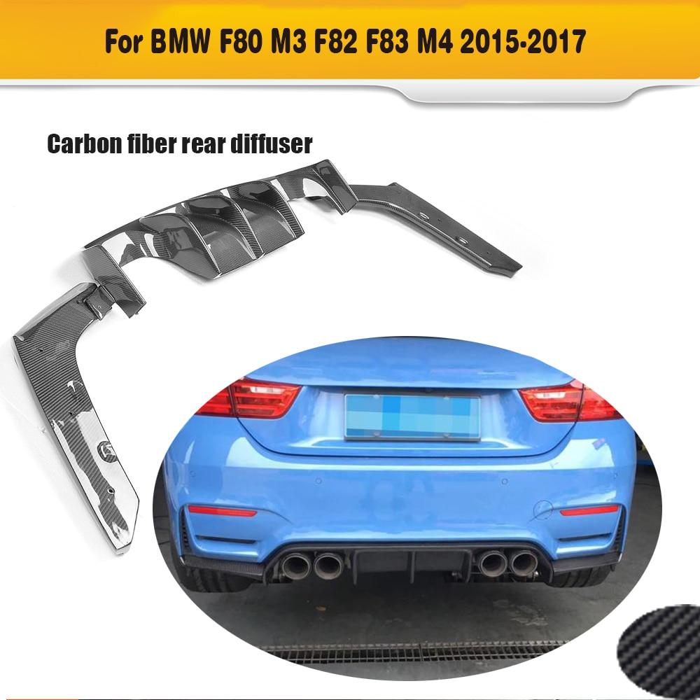 Carbon Fiber Car Rear Bumper Lip Spoiler Diffuser for BMW F80 M3 F82 F83 M4 14-19 Standard Convertible Rear Diffuser Gloss Black