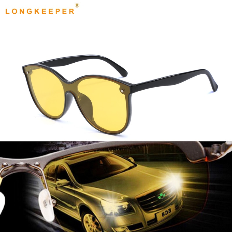 Óculos de sol polarizados de visão noturna óculos de sol de condução do carro lente amarela do vintage cat eye forma masculino alta qualidade