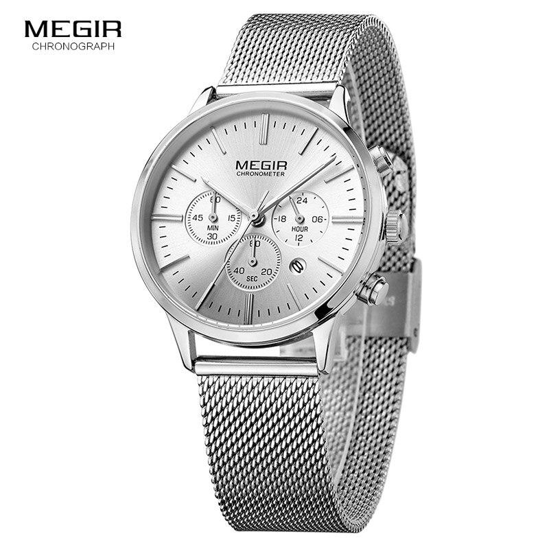 Reloj de cuarzo de malla de acero inoxidable MEGIR para mujer, reloj a prueba de agua, reloj multifunción, cronógrafo, reloj de pulsera negro