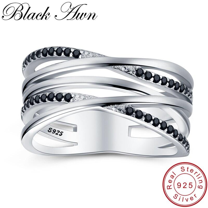 [BLACK AWN] joyería de plata de ley 925, anillos de boda para mujer, joyas de plata 925, anillo para dedo hueco G063