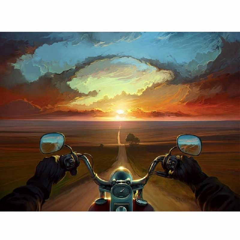 Motorcycle sunset diamond Embroidery diy diamond painting mosaic diamant painting 3d cross stitch pictures H577