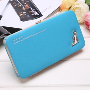 Women Wallet Box For Mobile High-Heeled Shoes Pattern Clutch PU Leather Womens Wallets Lady Purses Ladies Carteira Feminina Case