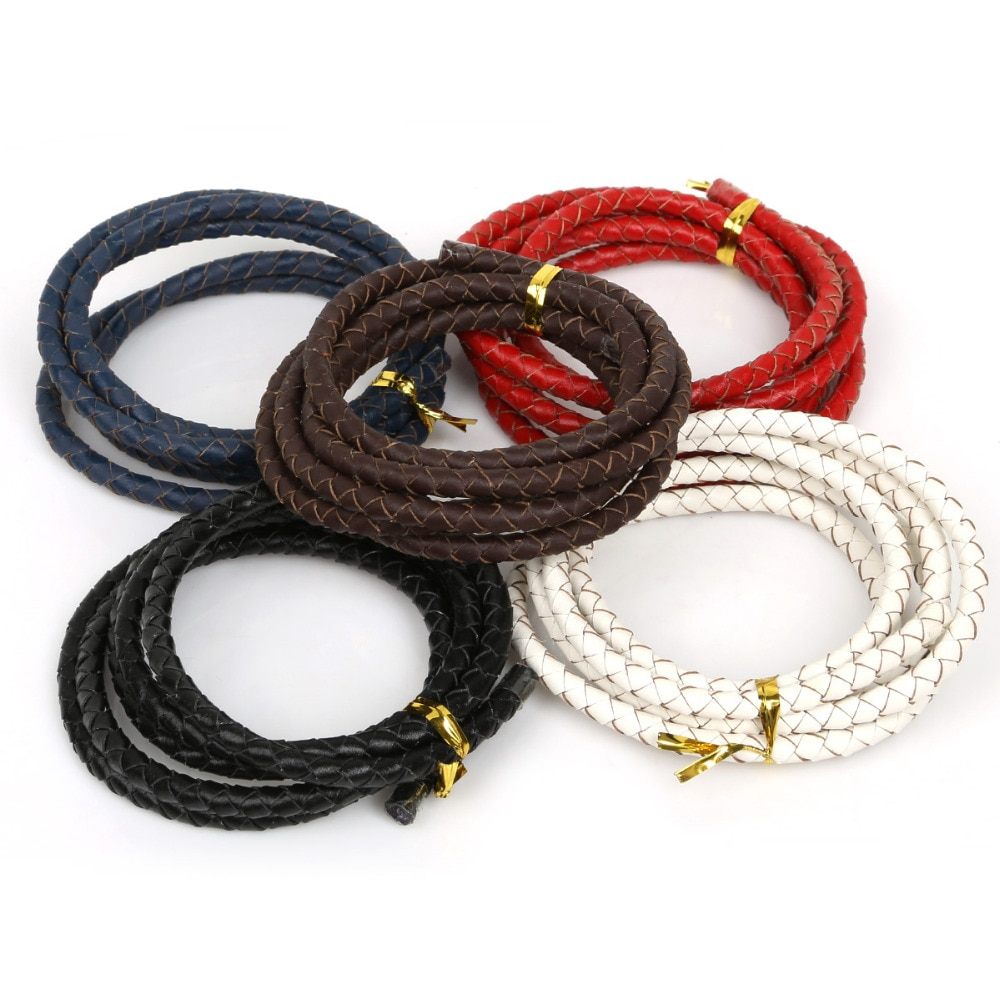 ¡Producto en oferta! Cordón de cuerda de cuero trenzado redondo creativo de diámetro 3/4/5mm para collar de pulsera, joyería artesanal para hacer cuerda de alambre