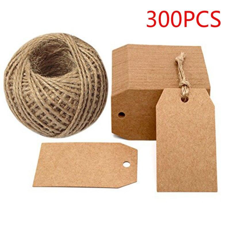 Etiquetas de papel Kraft para regalo, 2 pulgadas, 1 pulgada, etiquetas artesanales con cordón, decoración de etiquetas colgantes en blanco para bodas, fiestas, casa, accesorios, halloween