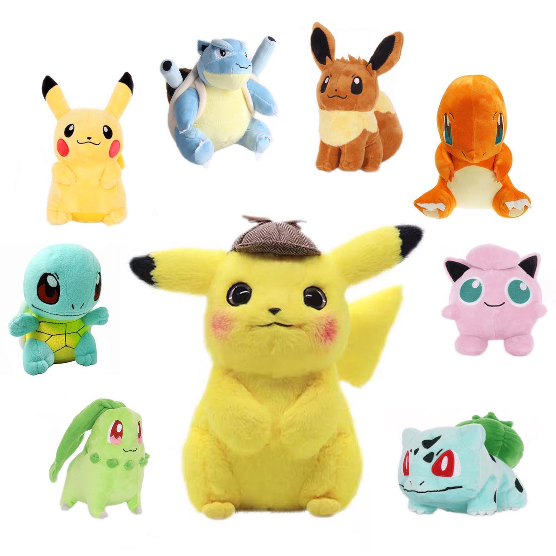 Pikachu detective película Bulbasaur Squirtle XY-Charizard Mewtwo de felpa juguetes para niños de regalo lindo garra muñeca de máquina de peluche de juguete
