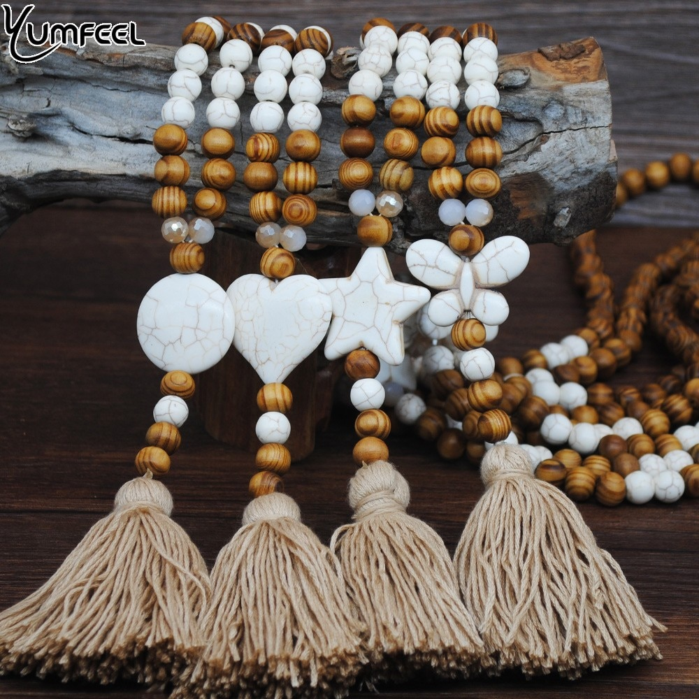Женское Ожерелье с кисточками Yumfeel, длинное ожерелье ручной работы с белыми бабочками, камнями в виде звезд, сердца и деревянными бусинами