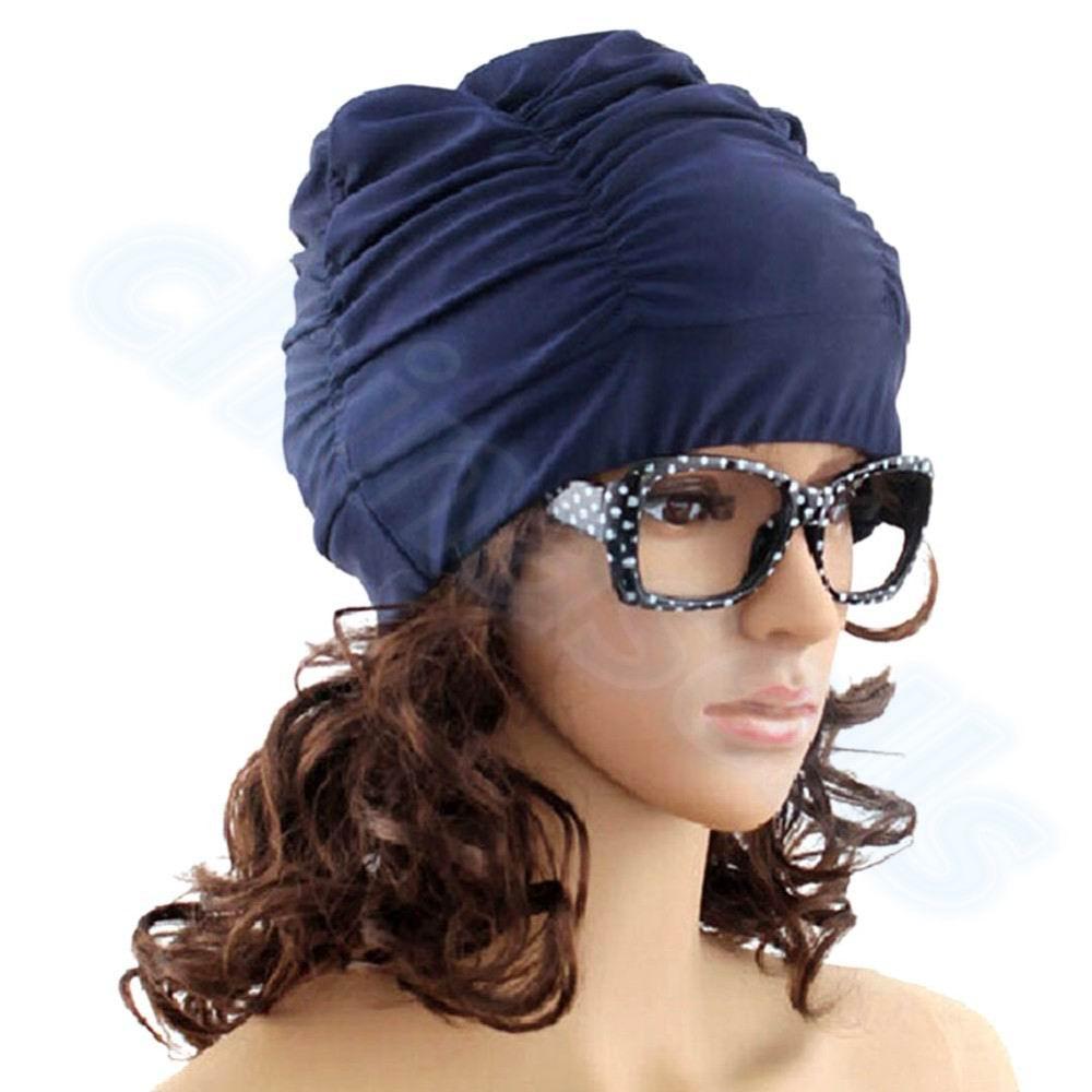 Sexy Lady Womens Girls Long Hair Swim Cap Stretch Hat Drape Bathing Swimming Cap Drape Stretch Sport