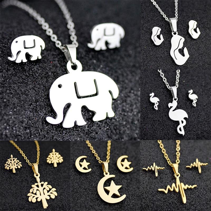 Moda requintado liga feminina colar brincos conjuntos de jóias borboleta animal elefante coruja estrela brincos de corrente curta pingente