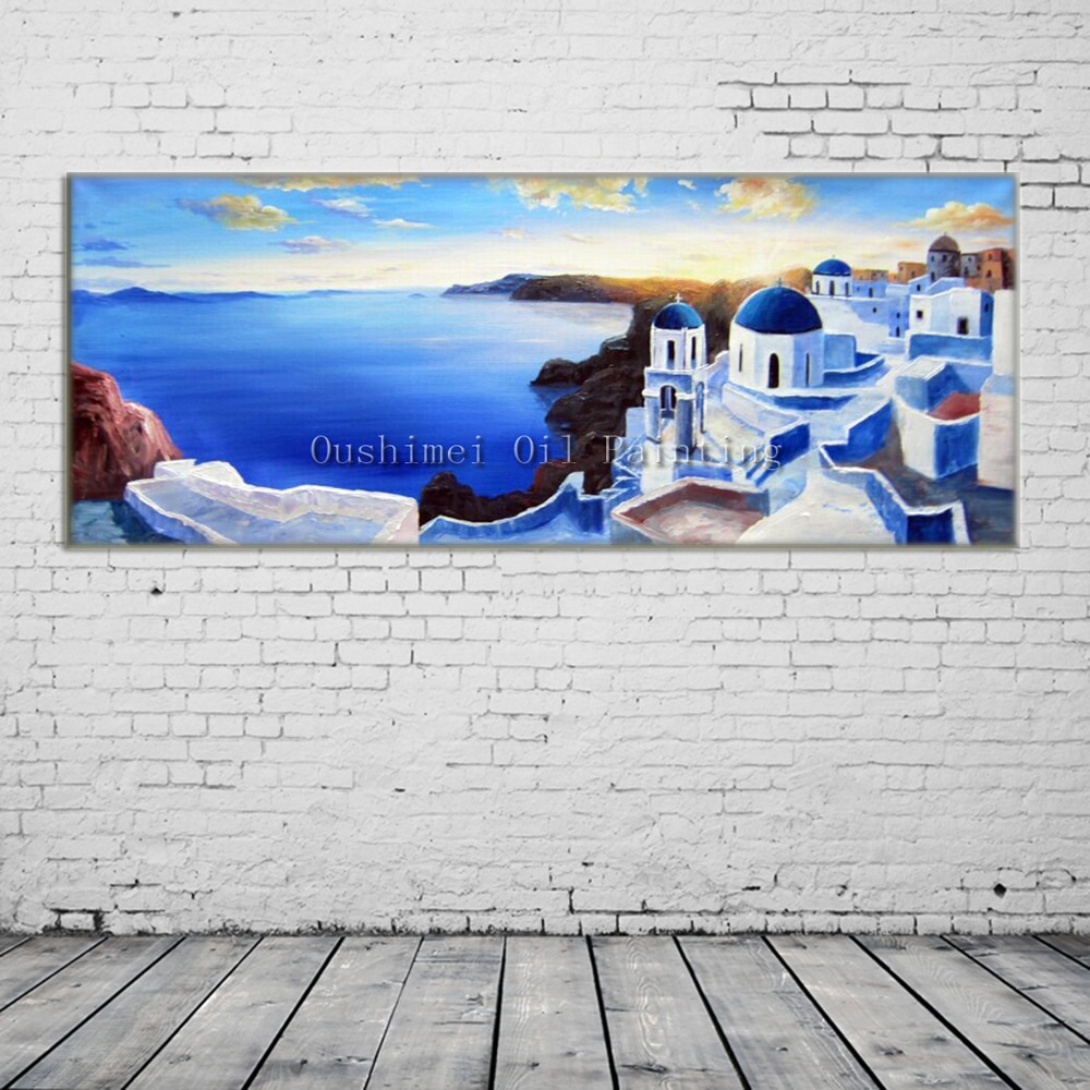 Ручная роспись нож пейзаж картина маслом современный вид на Эгейское море картина ручной работы настенная живопись синий дом морской пейза...