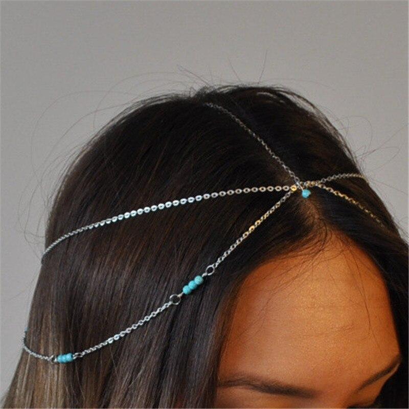 Diadema Nuevos Bohemios cuentas azules para mujer, cadena de múltiples capas para...