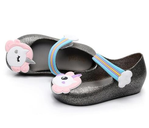 Zapatos de moda con diseño de unicornio MINI SED, zapatos de gelatina para niños y niñas, zapatillas de suela blanda para niños, zapatos impermeables para exteriores