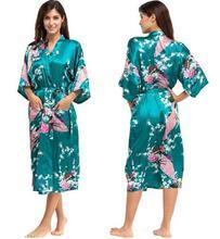 Шелковое кимоно, Женский сатиновый халат, ночная рубашка, сексуальные халаты для подружки невесты, летняя одежда, большие размеры-XXXL 010412