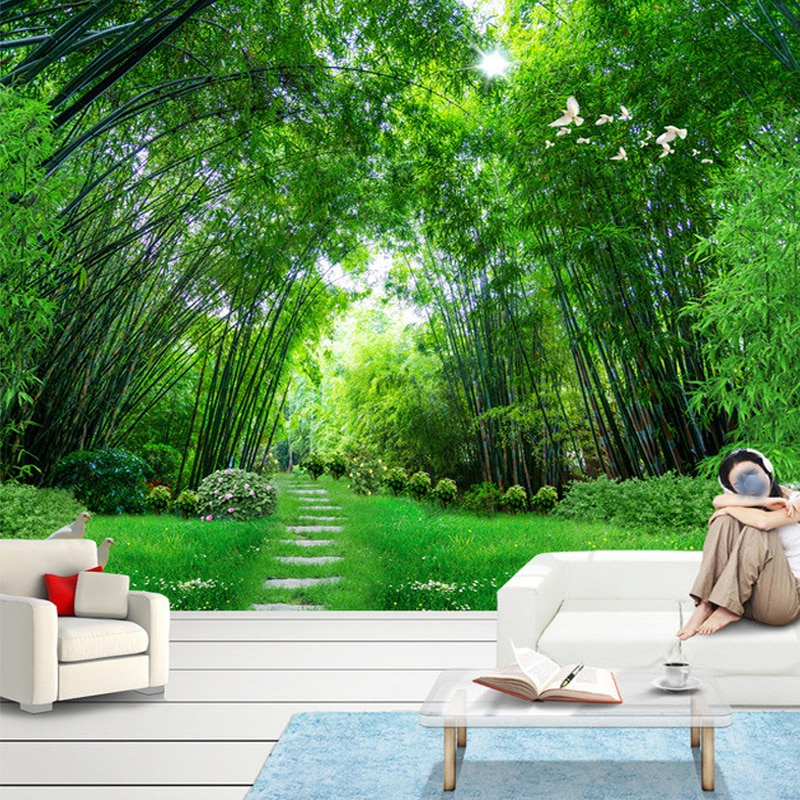 Foto de pared personalizada de papel de 3D verde bosque de bambú pared grande pintura mural para sala de estar papel para las paredes de papel de Contacto 3D