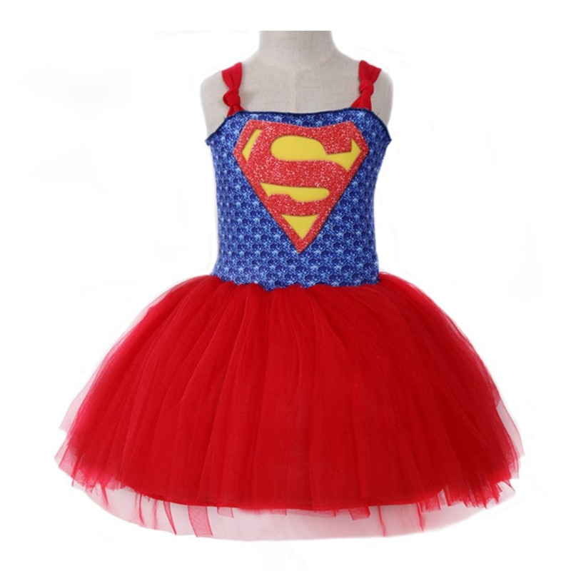 2019 Summer Superman Batman Girls Tutu Dress Carnival Super Hero Inspired Baby Costume Kids Cosplay Christmas Halloween Dress