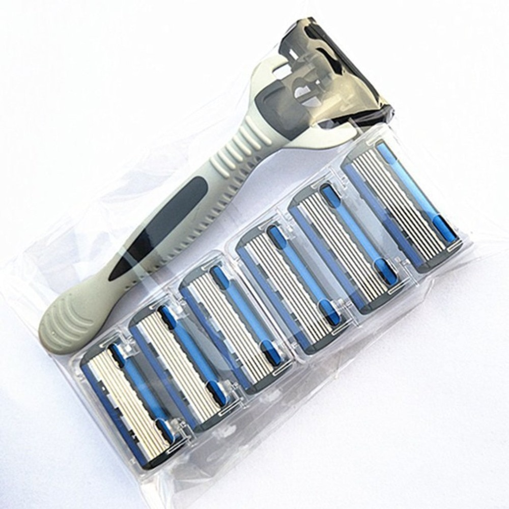 6 Layers Razor Include 1 Razor Holder + 7 Blades Replacement Shaver Head Cassette Shaving Razor Set Blue Face Knife For Man