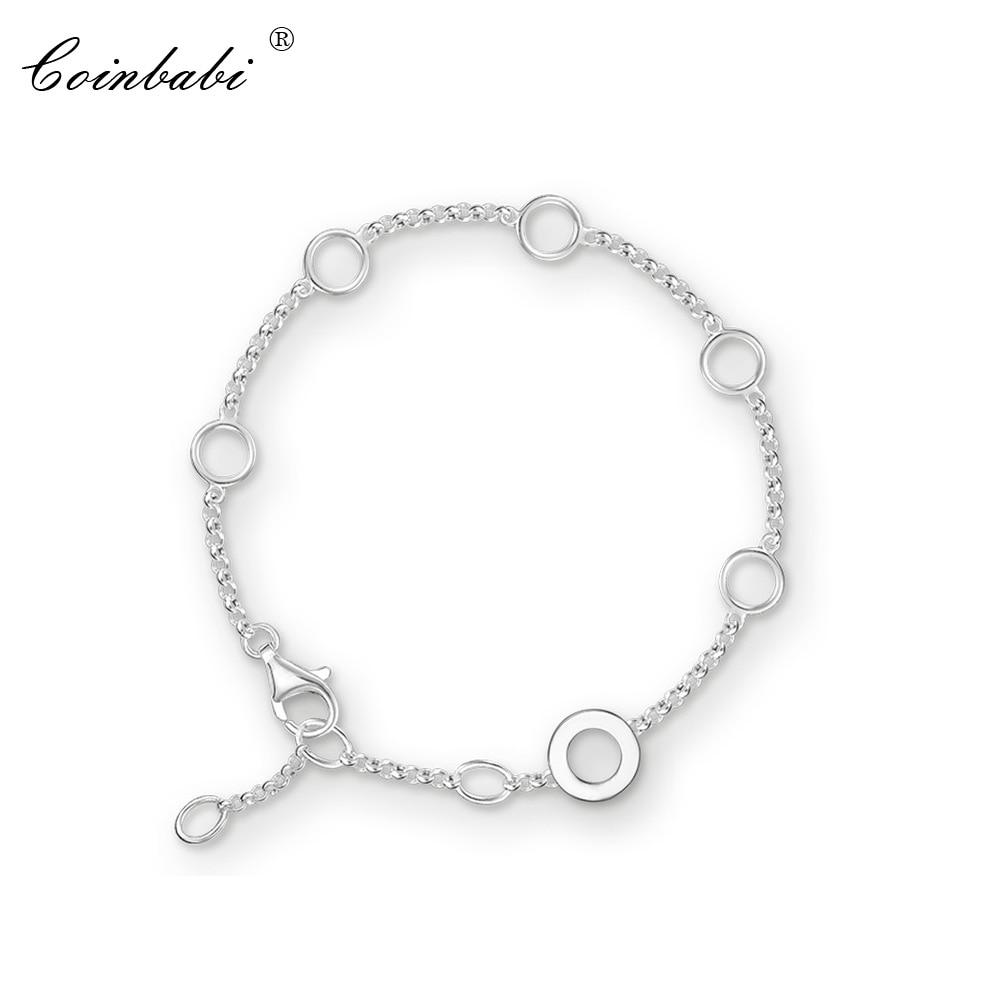 Bracelets Round Eyelet Link Chain 925 Sterling Silver Fashion Jewelry For Women Link Trendy Charm Gift Thomas Club Bracelet