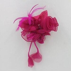 Декоративная брошь из органзы в виде цветка, Вуалетка, головной убор