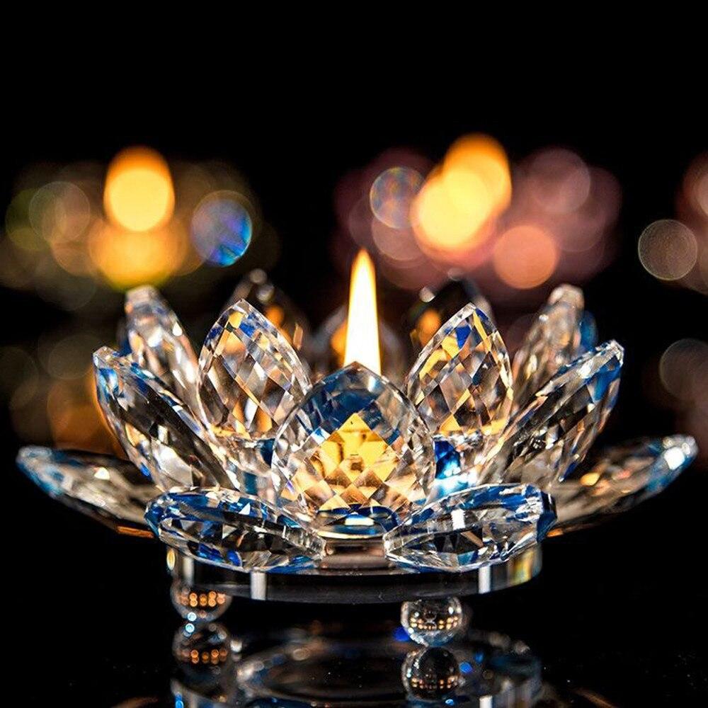 Portavelas vela de té 7 colores cristal flor de loto de cristal vela de té candelabro decoraciones budistas #40