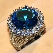 Femme de luxe grande bague en pierre bleue couleur argent anneaux de mariage pour les femmes 2019 nouvel an mode bague de fiançailles bijoux cadeaux