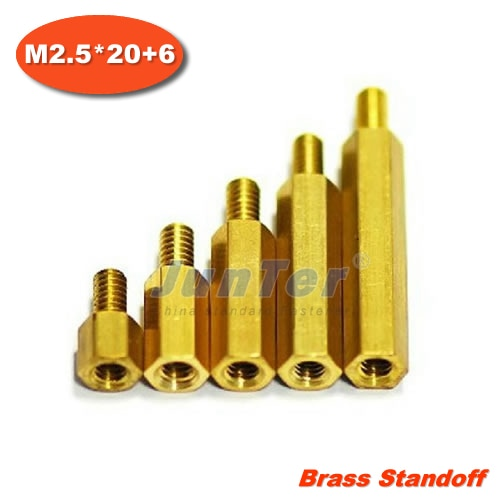 500pcs/lot Brass Standoff Spacer M2.5 Male x M2.5 Female -20mm