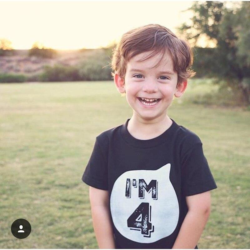MYUDI-das Crianças do Algodão T-shirt Eu sou 1 2 3 4 5 6 idade Branco Preto Tops Da Criança Bonito Camisa Do Bebê T Para Meninos Menina 1-6A