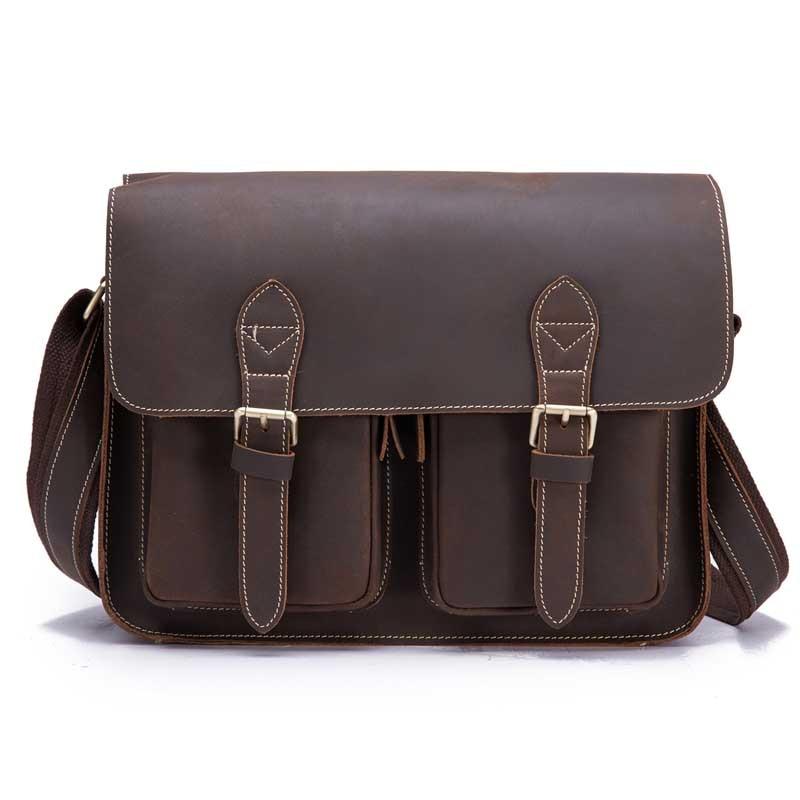 Men's Messenger Bags Genuine Leather Shoulder Bag Male Business Retro Cowhide Flap Bolsas Casual Cross Body Fashion Travel Gift