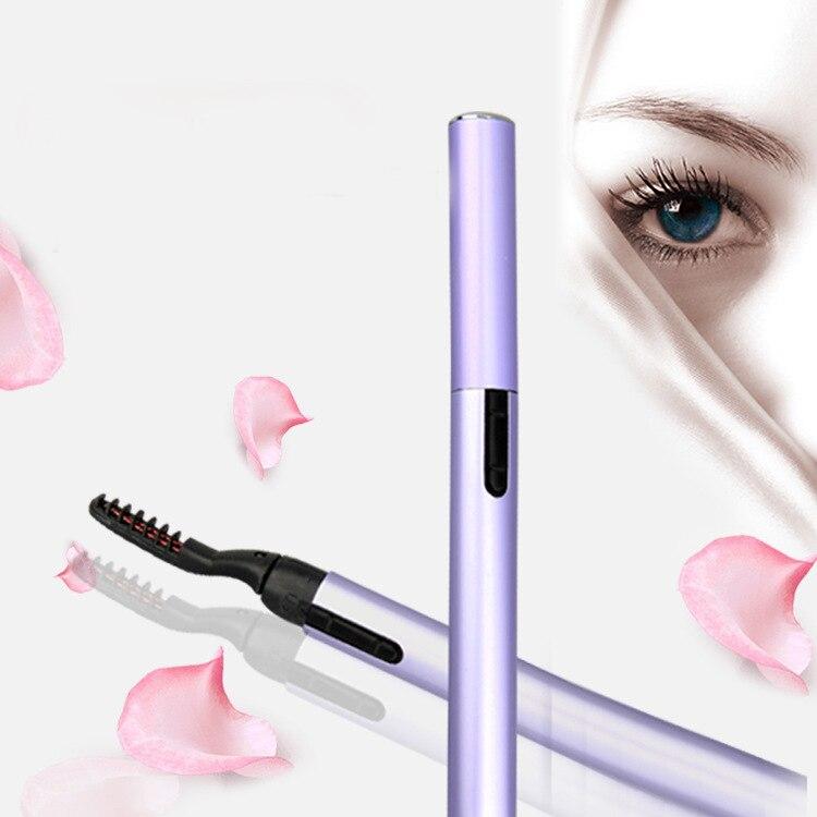 1 unidad de lápiz rizador de pestañas eléctrico de aluminio 360, cepillo de pestañas calientes giratorio, cepillo de pestañas de larga duración, rizador, herramienta de maquillaje de belleza