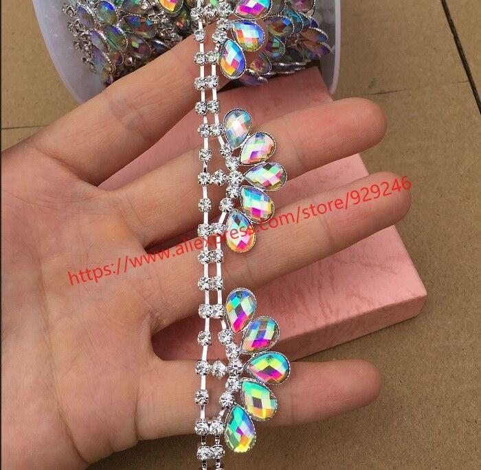 1 yard/pack 2.2cm gorgeous tear-drop black stone flower trims AB rhinestone crown chain fashion garment accesory hair ornaments